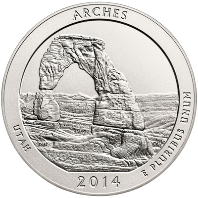 Arches National Park Five Ounce Silver Uncirculated Coin