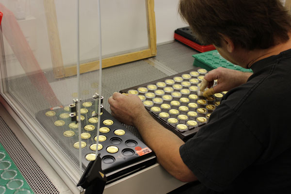 placing gold coins in capsules