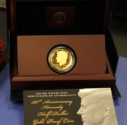 reverse proof gold half dollar in packaging