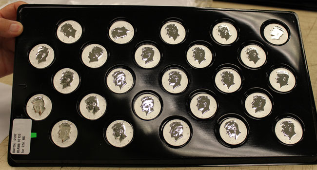 tray of reverse proof silver half dollars