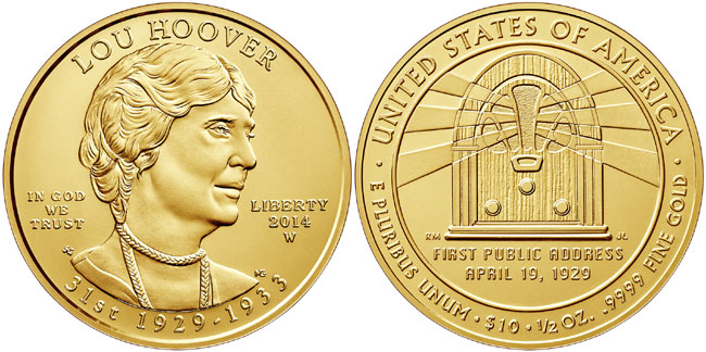 Lou Hoover First Spouse Gold Coin