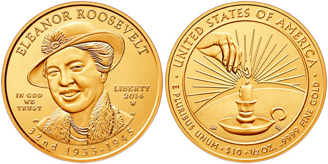 Eleanor Rooesvelt First Spouse Gold Coin