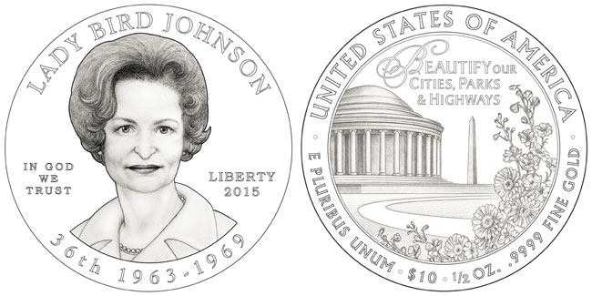 Lady Bird Johnson First Spouse Coin
