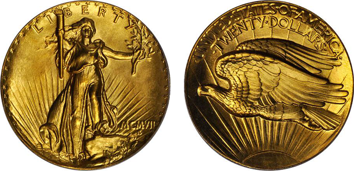 The 1907 Ultra High Relief double eagle. (Photo courtesy of Stack's Bowers Galleries)