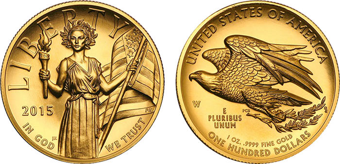 The 2015 high-relief gold coin, depicting an all-new, thoroughly modern interpretation of Liberty. (Photos courtesy of APMEX)