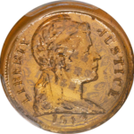 Obverse of the glass cent, based on a Colombian 2-centavo design.