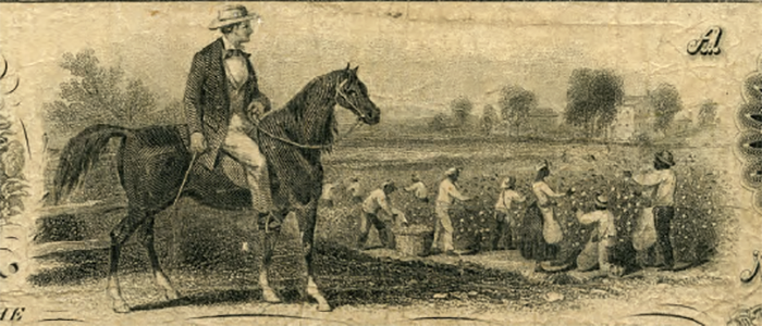 This vignette originally depicted a field of white laborers harvesting wheat. A South Carolina bank wanted to use the image, but asked that the laborers be changed to black slaves, and the wheat to cotton.