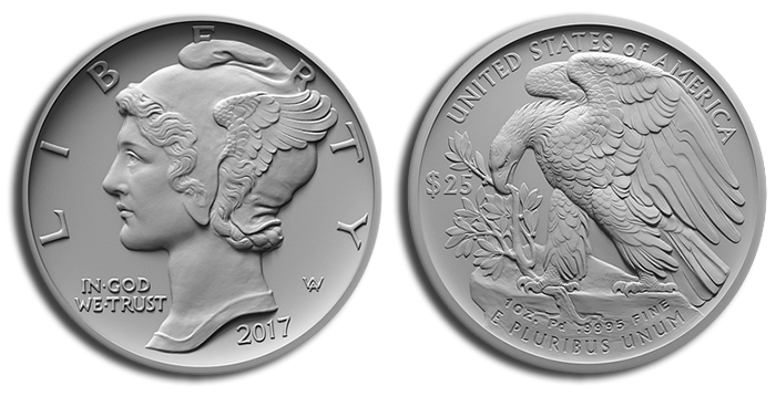 Mockup of the proposed design for the 2017 palladium American Eagle coin. (U.S. Mint photo, via Coin World)