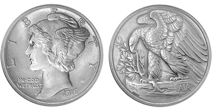 """A 1916 Winged Liberty obverse and the AIA gold medal reverse (with rim added). The final coin design must also include """"United States of America,"""" plus the denomination, weight, and fineness of the coin."""
