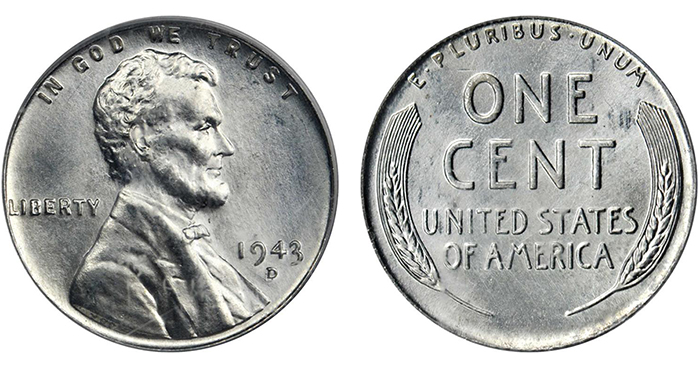 1943-D over D steel cent. (Photo courtesy of Stack's Bowers Galleries)