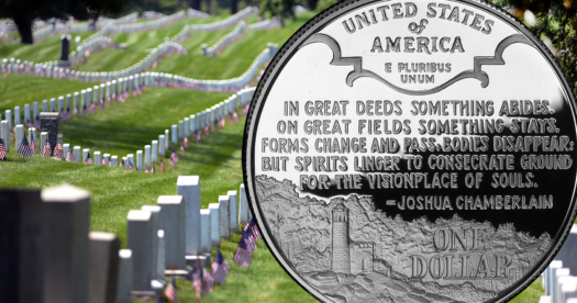 Foreground: Reverse of a 1995 Proof silver dollar in honor of Civil War Battlefield preservation. (U.S. Mint photo) Background: In Arlington National Cemetery, soldiers of the 3rd U.S. Infantry Regiment (The Old Guard) place a small American flag in front of more than 230,000 grave markers, to honor every individual buried at Arlington National Cemetery, and at the foot of each columbarium to account for the more than 400,000 interred. (DoD photo by Marvin D. Lynchard)