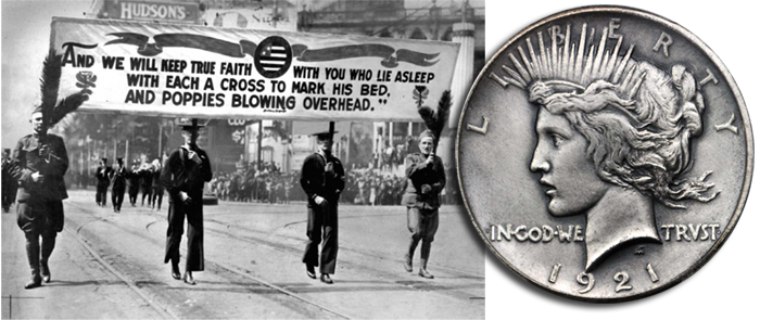 A Memorial Day parade in 1921, and a Peace dollar commemorating the end of WWI. (Background, Library of Congress; coin, courtesy Stack's Bowers Galleries)