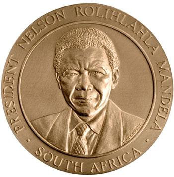 """Nelson Mandela US Mint 1 1//2/"""" Bronze Medal"""