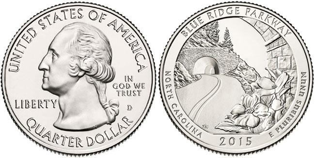 "2015 S Blue Ridge Mountains North Carolina Quarter ROLL US Mint /""BU/"" ATB series"