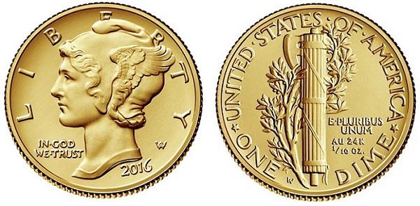 2016 W GOLD MERCURY DIME CENTENNIAL COIN PCGS SP70 FIRST STRIKE MINT BOX//COA